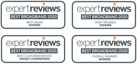 Expert Reviews Winner 2020 logos - Best Broadband 2020, Best Value Winner, Most Reliable Winner, Best Customer Service Highly Commended and Overall Winner