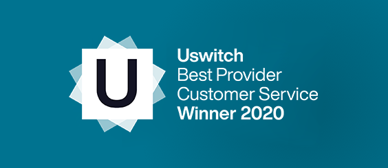 Uswitch Best Provider Customer Service Winner 2020 logo