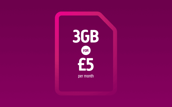 A Plusnet SIM card with 3GB for £5 offer