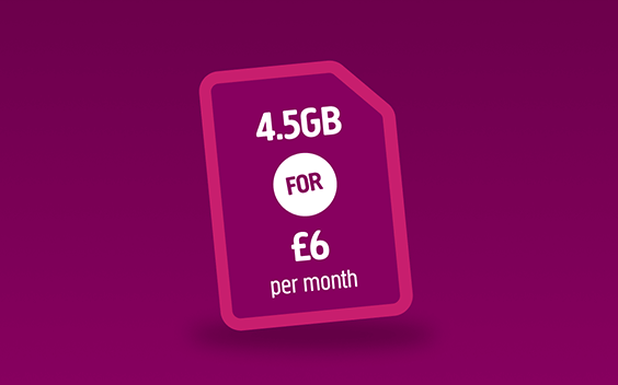 A Plusnet SIM card with 4.5GB for £6 offer