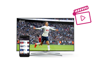 BT Sport football action displayed on a TV and laptop screen. Mobile phone showing  BT Sport menu. Games console nearby